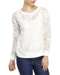 Catherine Malandrino Lace Pullover white - Lyst