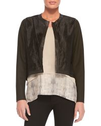 Elie Tahari Astor Cropped Perforated Jacket - Lyst