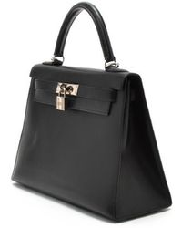 Hermes Preowned Black Box Calf Kelly 28 Bag - Lyst