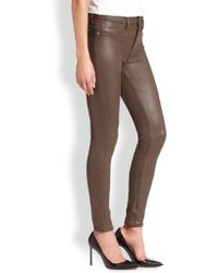 7 For All Mankind The Leather-Like Coated Skinny Jeans - Lyst