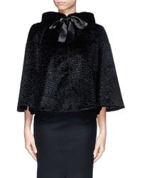 Alexander McQueen Textured Faux Fur Ribbon Tie Cape Jacket - Lyst