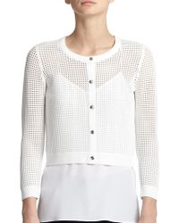 Milly Cropped Perforated Cardigan white - Lyst