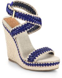 Tory Burch Lilah Woven Leather Platform Wedge Espadrilles blue - Lyst
