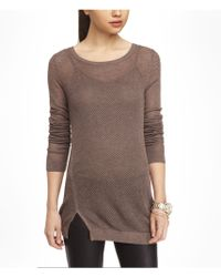 Express Open Mesh Relaxed Tunic Sweater - Lyst