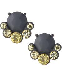 Fragments Rubber-coated Green Crystal Stud Earrings - Lyst