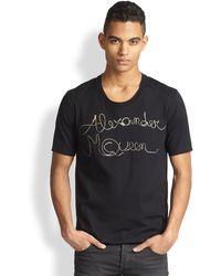 Alexander McQueen Metallic Script Tee - Lyst