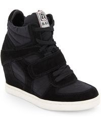 Ash Suede  Canvas Wedge High Top Sneakers - Lyst