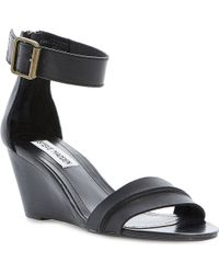 Steve Madden Neliee Leather Wedge Sandals Black - Lyst