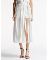 Halston | Pleated Skirt With Ponte Shorts | Lyst