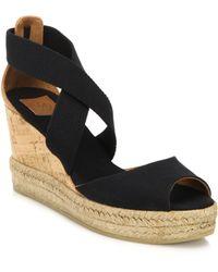 Tory Burch Canvas & Cork Espadrille Wedge Sandals black - Lyst