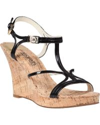 MICHAEL Michael Kors Cicely Wedge Sandal Black Patent - Lyst