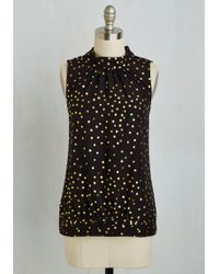 ModCloth | Midtown Magnificence Top In Dotted Black | Lyst