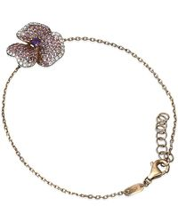 AS29 - Amethyst Pave Diamond Flower Bracelet - Lyst