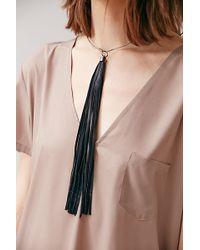Jakimac - Leather Tassel Choker Necklace - Lyst