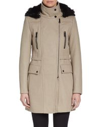 Marc New York By Andrew Marc Ella Faux-Fur-Trimmed Coat - Lyst