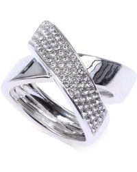 Judith Jack Sterling Silver Crystal Crisscross Ring - Lyst