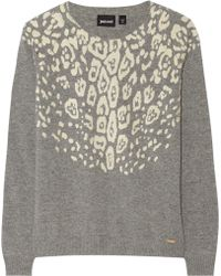 Just Cavalli Gray Knitted Sweater - Lyst