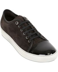Lanvin Patent Leather & Suede Sneakers - Lyst