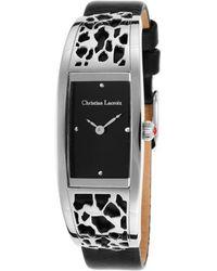 Christian Lacroix - Womens Black Genuine Leather Strap Black Dial - Lyst