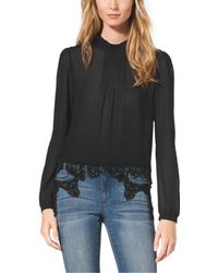 Michael Kors Beaded Lace Blouse - Lyst