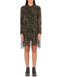 Etoile Isabel Marant Cray Animal-print Chiffon Dress Bronze - Lyst