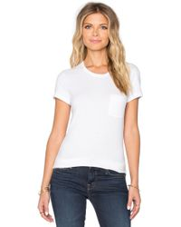 James Perse | Skinny Brushed Jersey Pocket Tee | Lyst
