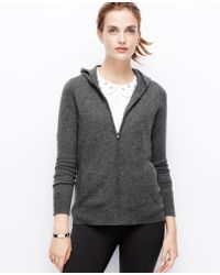 Ann Taylor Gray Cashmere Hoodie - Lyst