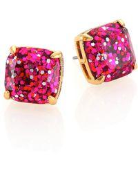 Kate Spade Glitter Square Stud Earrings/Fucshia gold - Lyst