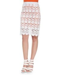 Rebecca Minkoff Angelica Floral Lace Pencil Skirt - Lyst