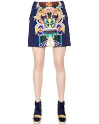 Mary Katrantzou Totem Printed Double Satin Mini Skirt - Lyst