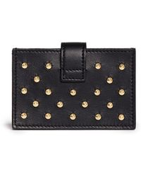 Alexander McQueen Skull Accordian Stud Leather Card Case - Lyst