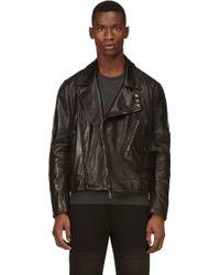 Costume National Black Leather Biker Jacket - Lyst