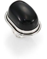 Saint Laurent Black Onyx Cherry Ring - Lyst