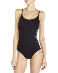Ivanka Trump - Starburst Side Zip One-Piece Swimsuit - Lyst