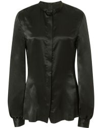 J. Mendel Silk Charmeuse Button Up Blouse - Lyst