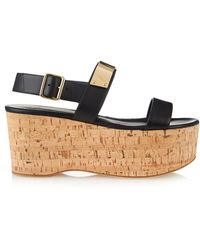 Giuseppe Zanotti Metal-Strap Leather And Cork Platform Sandals - Lyst
