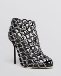 Sergio Rossi Open Toe Caged Evening Sandal Booties - Mermaid Crystal High Heel - Lyst