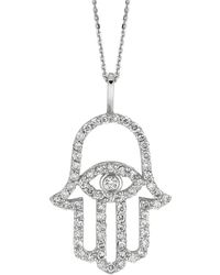 Morris & David - Diamond And 14k White Gold Hamsa Charm Necklace, 0.5 Tcw - Lyst