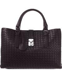Bottega Veneta Roma Intrecciato Leather Medium Tote Bag - For Women - Lyst