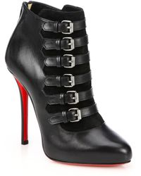 Christian Louboutin Attroupa Leather Buckled Ankle Boots - Lyst