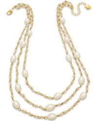 Lauren by Ralph Lauren Gold-Tone Pink Glass Pearl Necklace - Lyst