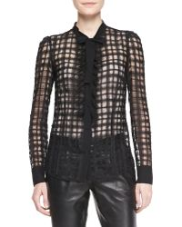RED Valentino Sheer Organza Check Blouse - Lyst