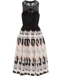 Holly Fulton - Embellished Wool And Printed Silk Crepe De Chine Dress - Lyst