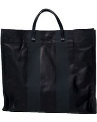 Clare Vivier Simple Tote In Black Leather With Double Black Stripes - Lyst