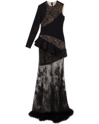 Alessandra Rich One Sleeve Lace with Feather Gown - Lyst