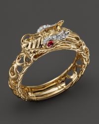 John Hardy Batu Naga 18k Yellow Gold Diamond Pave Dragon Slim Ring with African Ruby Eyes - Lyst