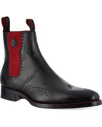 Jeffery West Novikov Peforated Leather Chelsea Boots Black - Lyst