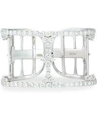 Bessa - 18k White Gold Open Diamond Cuff - Lyst