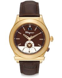 Ferragamo Goldtone-finished Stainless Steel Two-dial Leather Strap Watch - Lyst