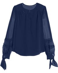 Rebecca Taylor | Silk Top With Tie Sleeves | Lyst